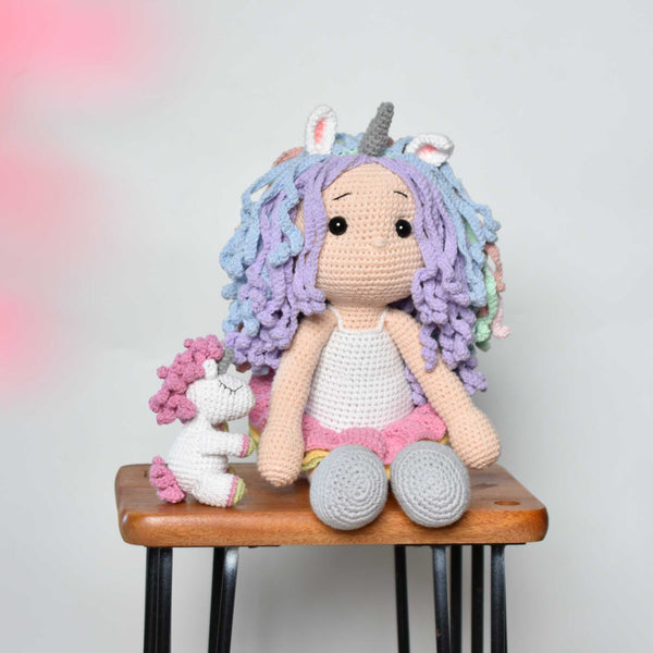 Crochet Unicorn Doll - Lou, the unicorn girl and her baby unicorn - Baby Shower Gift- Girl Birthday Gift