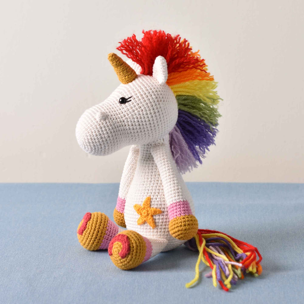 Colorful Unicorn Amigurumi Hand Crochet Stuffed Kid Plush Toy High Quality