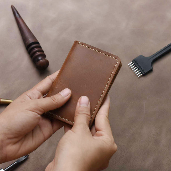Minimalist Leather Bifold Wallet - Brown Leather Mini Wallet - Slim Card Holder - Cowhide Leather Card Wallet - Gift for Him