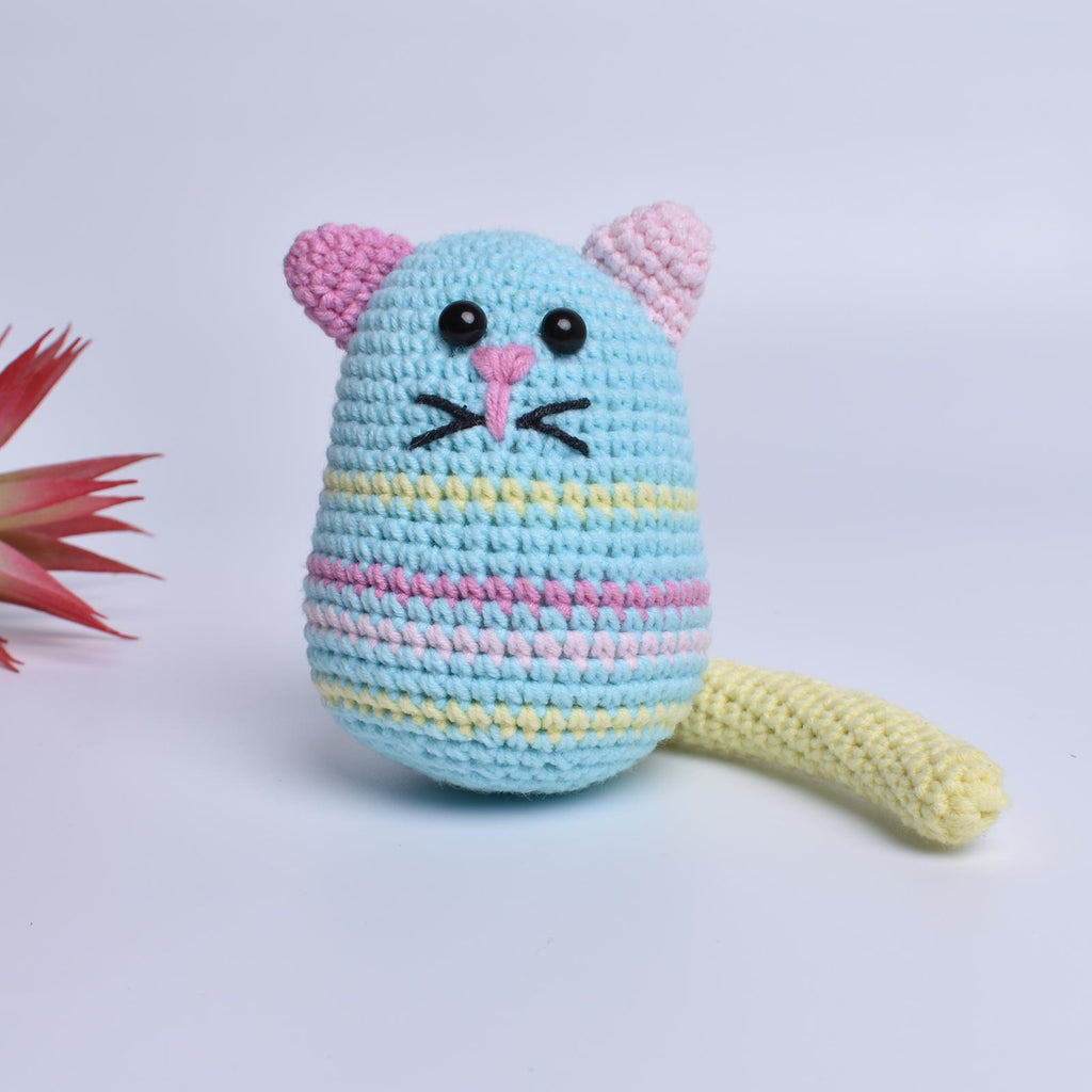 Fun Egg-Shaped Cat Crochet Animal Handmade Amigurumi Stuffed Toy Doll - SaiGonDoll