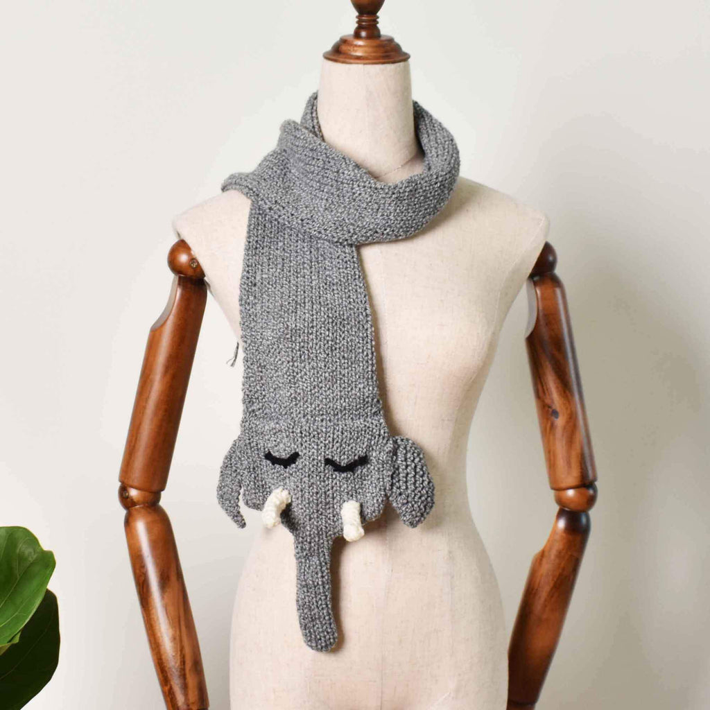 Elephant Scarf, Accessories Gift For Her, Hand Knit Scarf, Wild Animal Scarf - Saigonmade