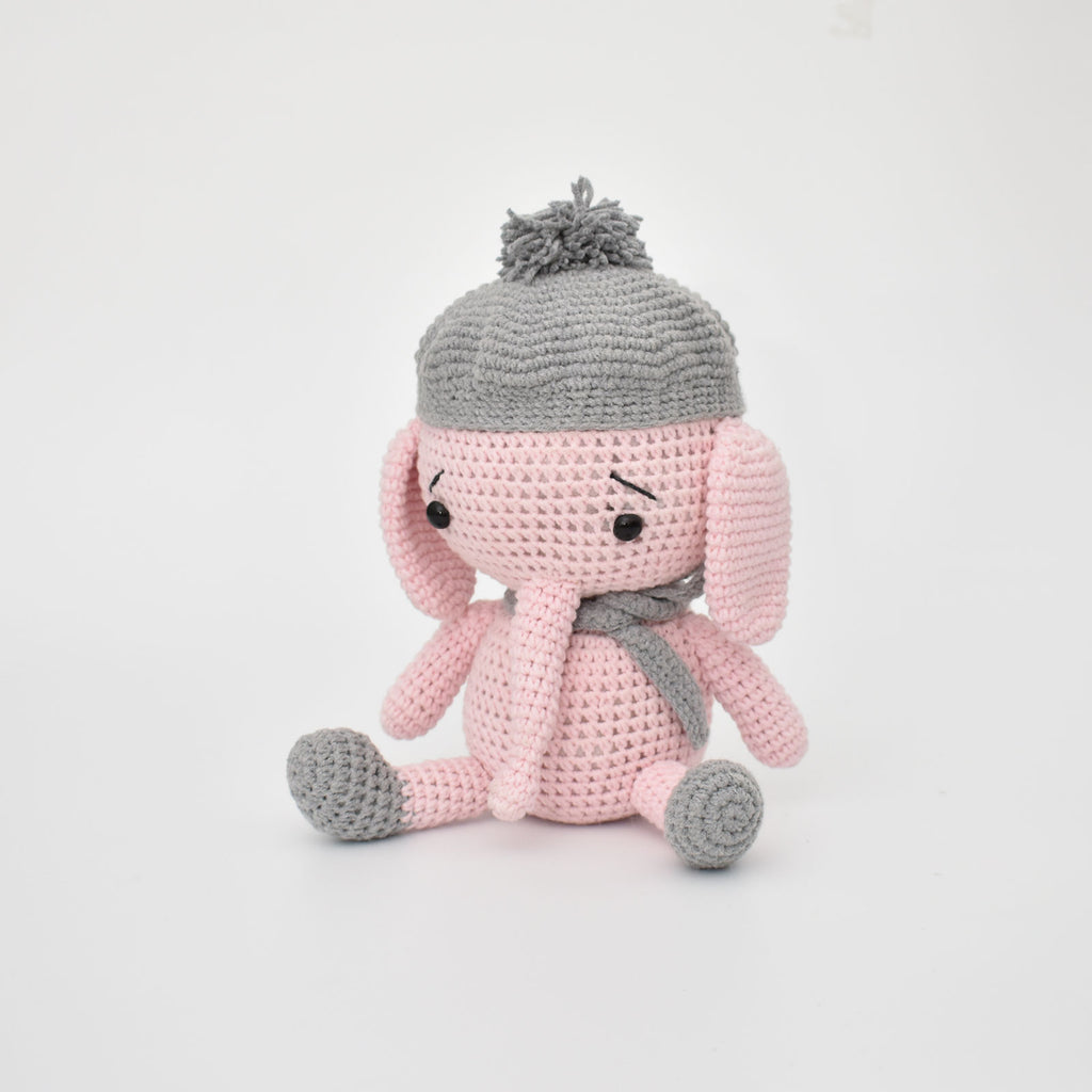 Baby Elephant With Hat Handmade Amigurumi Stuffed Toy Knitting Crochet Doll - SaiGonDoll