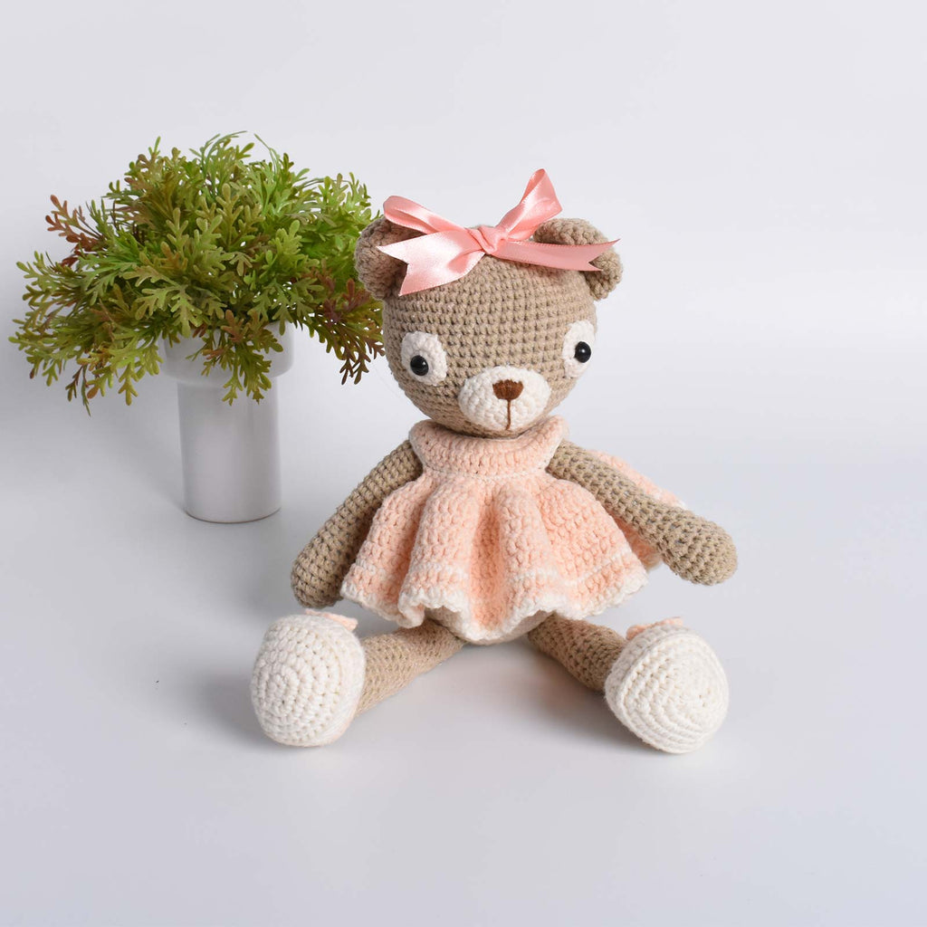 Amigurumi Fashion Teddy Bear Wears A Romantic Ruffled Dress Animal Crochet - SaiGonDoll