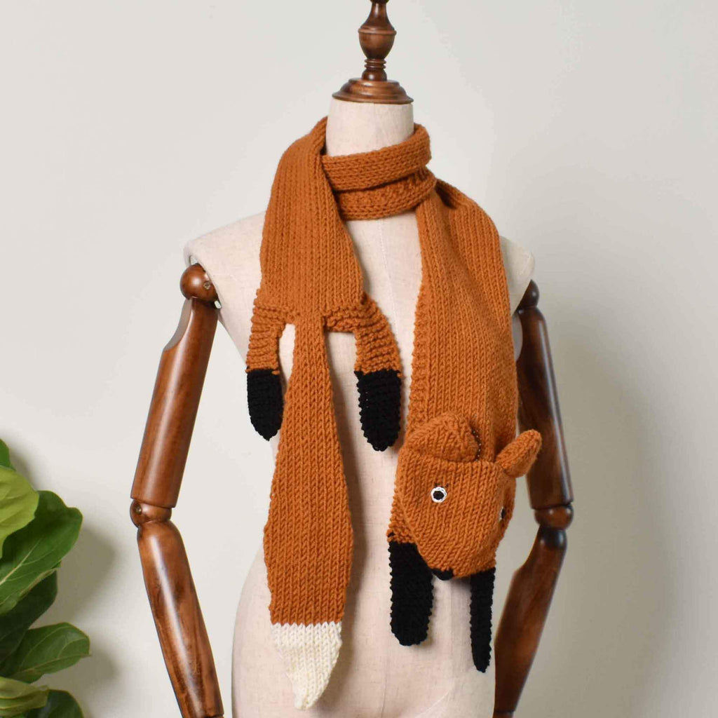 Fox Knit Scarf , Wild Animal Handmade Knitting Fox Scarf, Gift For Her - Saigonmade
