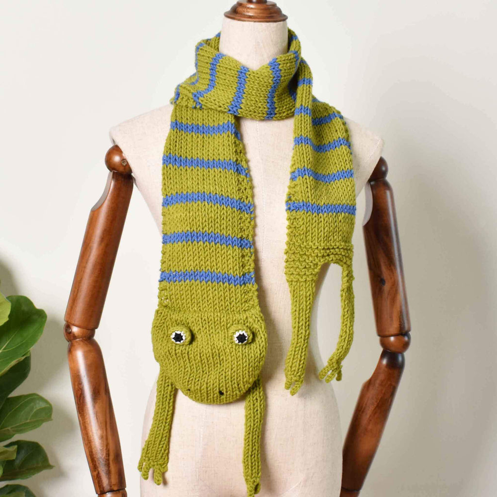 Tropical Frog Scarf, Hand Knitted Scarf,  Animal Funny Scarf, Knit Accessories - Saigonmade