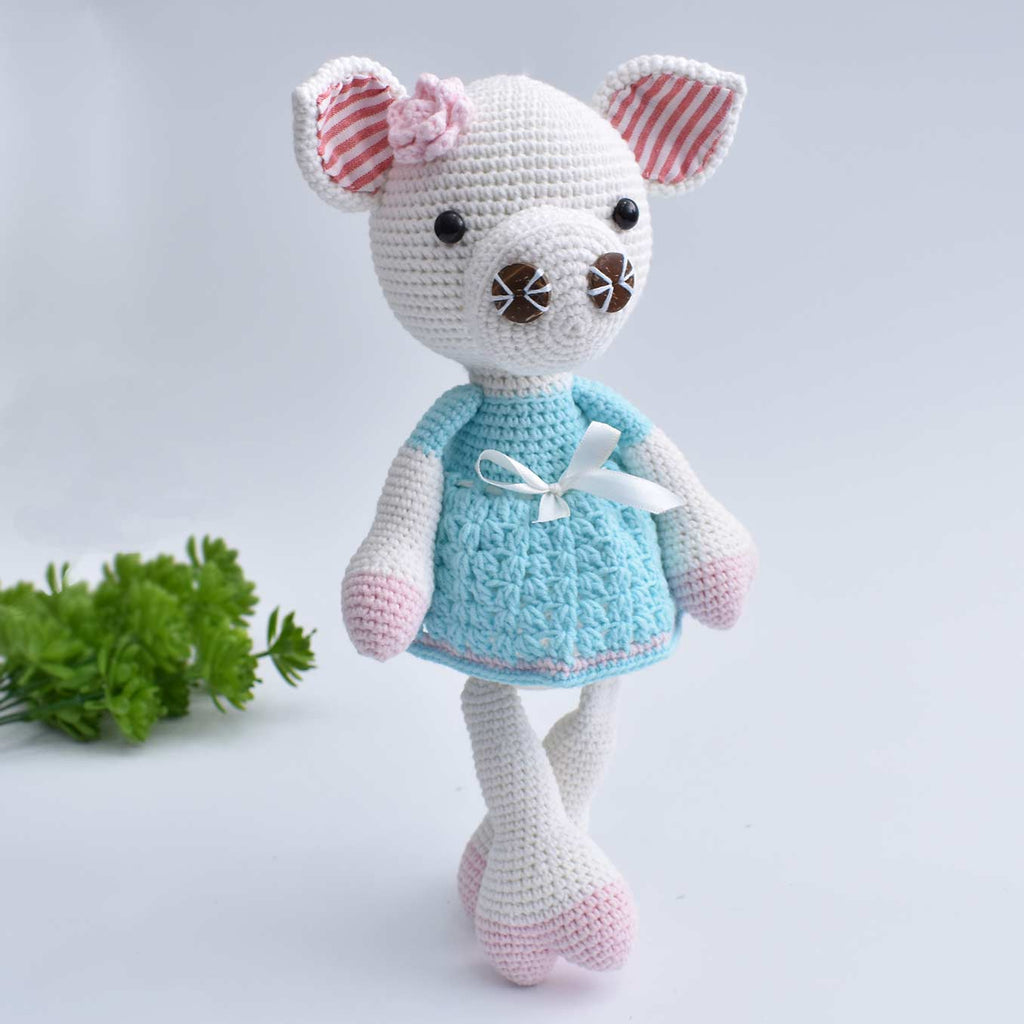 Girly Pig Handmade Amigurumi Stuffed Toy Knitting Crochet Doll High Quality !!! - SaiGonDoll
