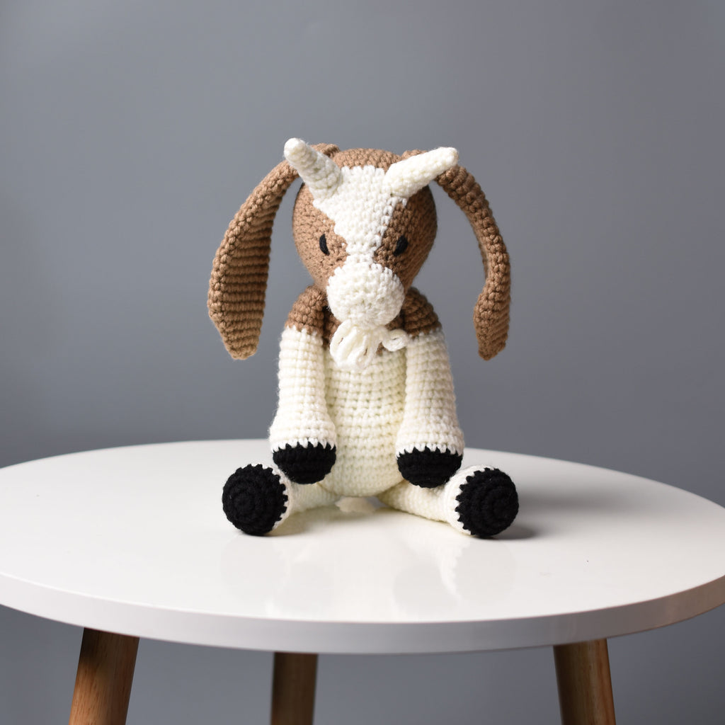 Goat Plush Stuffed Animal Hand-Knitted Toy - Amigurumi Goat Decor - Best Gift for kid - Decoration Gift