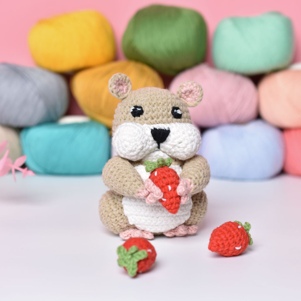Small Crochet Amigurumi Hamster with Strawberry - Funny Hamster - Gift for kids