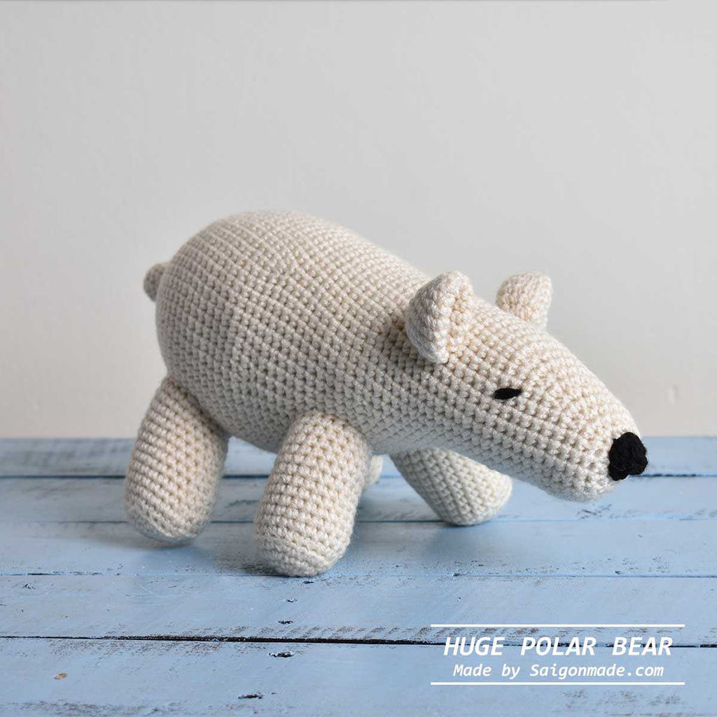Polar Stuffed Bear Amigurumi, Crochet Polar Bear Toy, Stuffed Animal Amigurumi - SaiGonDoll