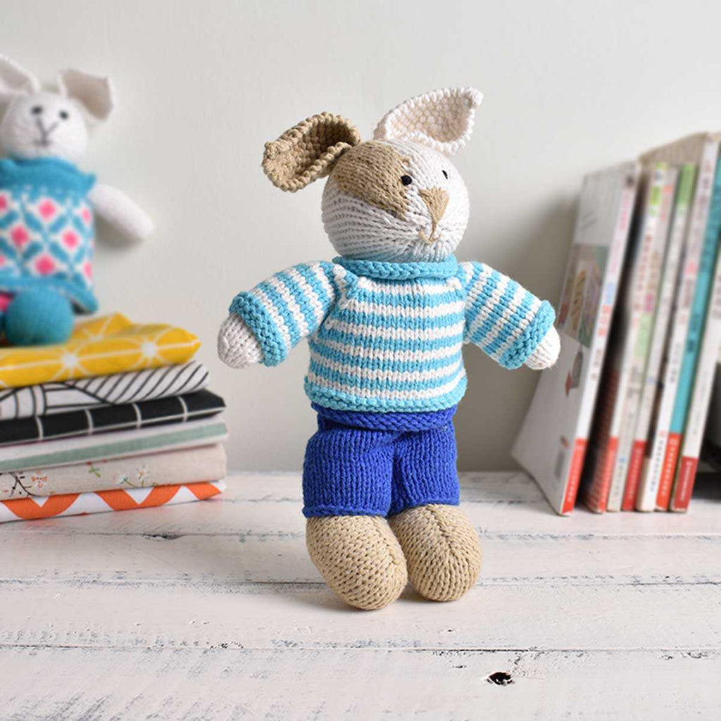 Doll Bunny Rabbit Knitting Toy - Stuffed Toy- Gift Softy Toy - Hand-knitted Doll - SaiGonDoll