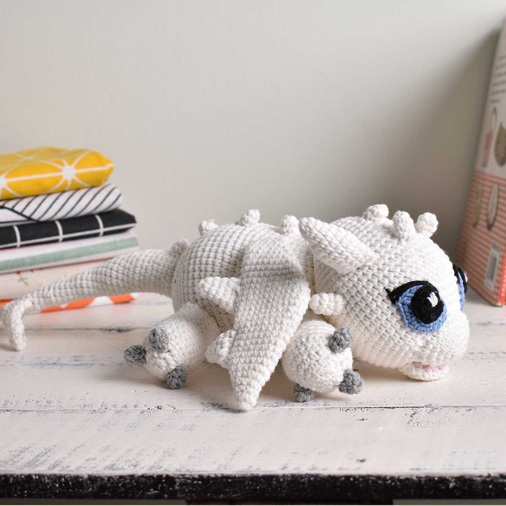 Light Fury Crochet Dragon - Handmade Stuffed Animal Gift- Amigurumi Dragon - SaiGonDoll