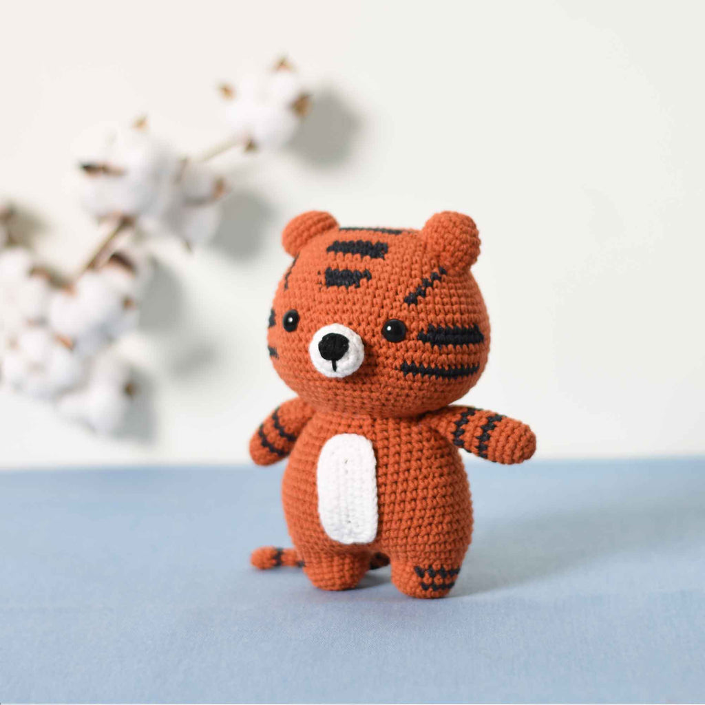Crochet Tiger, Stuffed Wild Animal, Handmade Natural Tiger Cub, Gift For Baby - SaiGonDoll