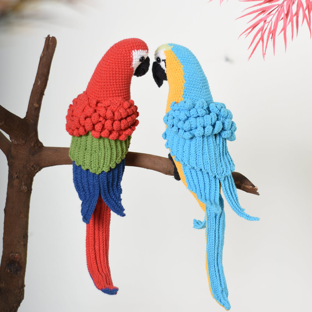 Amigurumi Red And Blue Macaw Parrot Bird Crochet Handmade Decorative Toy
