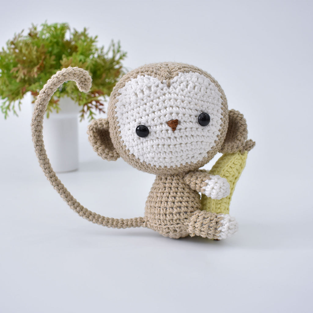 Monkey & Banana Crochet Animal Handmade Amigurumi Stuffed Toy Doll High Quality - SaiGonDoll