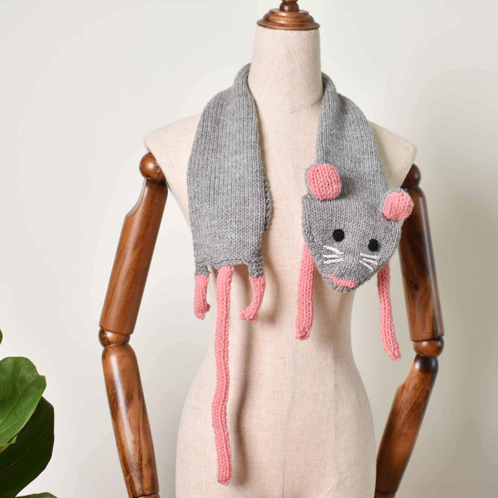 Mouse Scarf, Accessories Gift For Kid, Hand Knit Scarf, Finished Scarf - Saigonmade