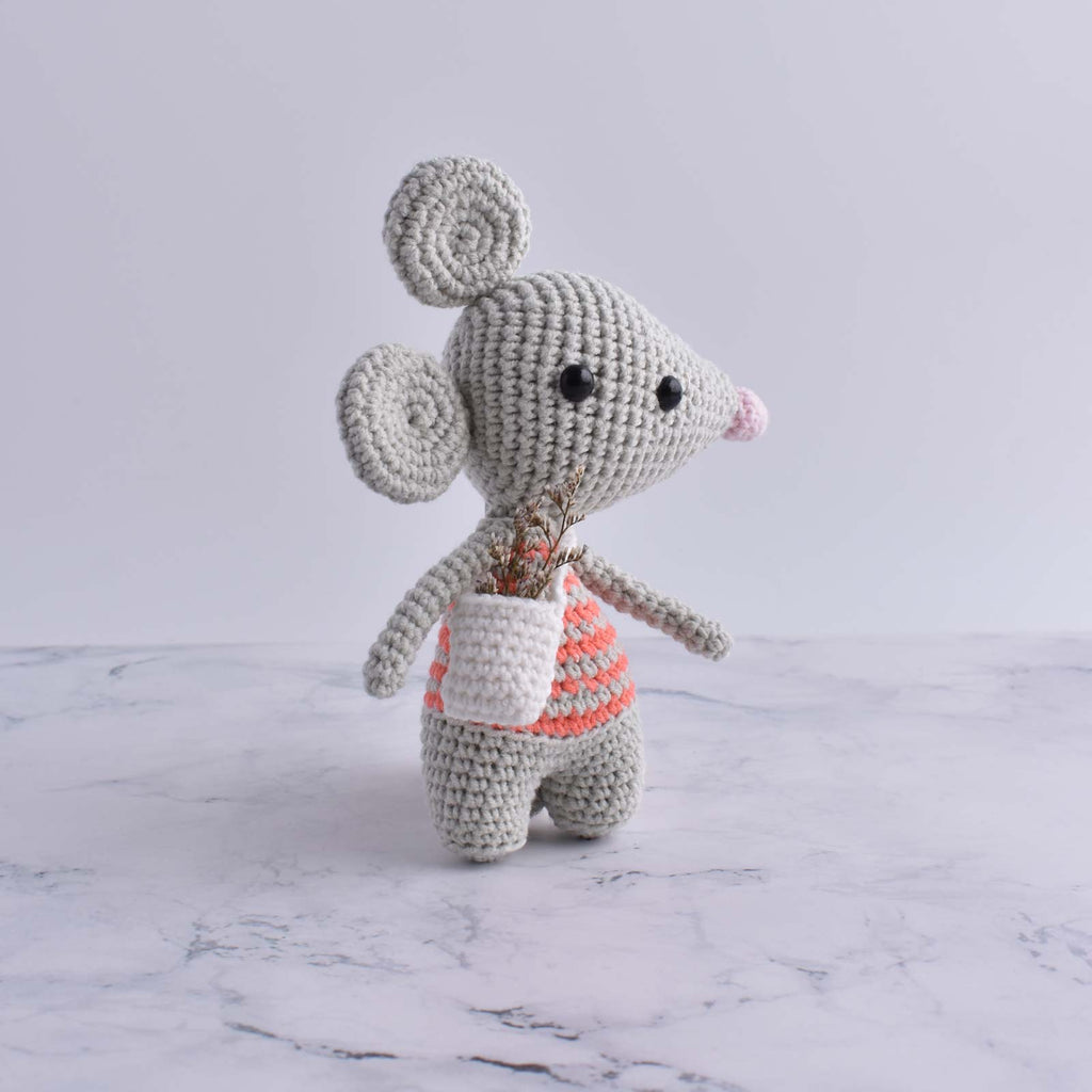 Kids Plush Toy Handmade Crochet Cotton Yarn Stuffed Animal Amigurumi Mouse - SaiGonDoll