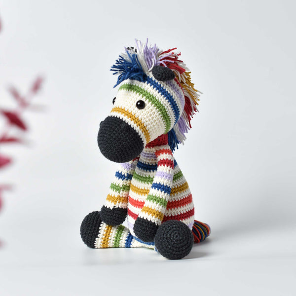 Rainbow Zebra, Muticolor Zebra Crochet Handmade, Stuffed Zebra , Zebra Soft Toy For Kids, Baby Shower Gift