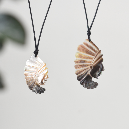 Native American Sea Shell Handmade Charm Pendant Necklace Jewelry - Saigonmade