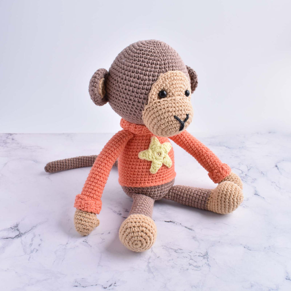 Naughty Monkey Kid Plush Toy Handmade Crochet Stuffed Animal Amigurumi - SaiGonDoll