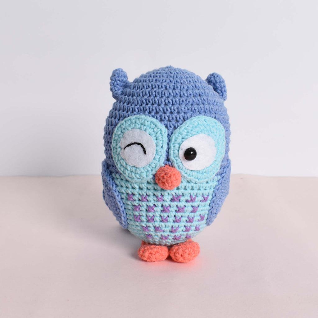 Cute Owl Amigurumi Crochet Bird Animal Stuffed Handmade Kid Toy Yarn Art Jeans - SaiGonDoll
