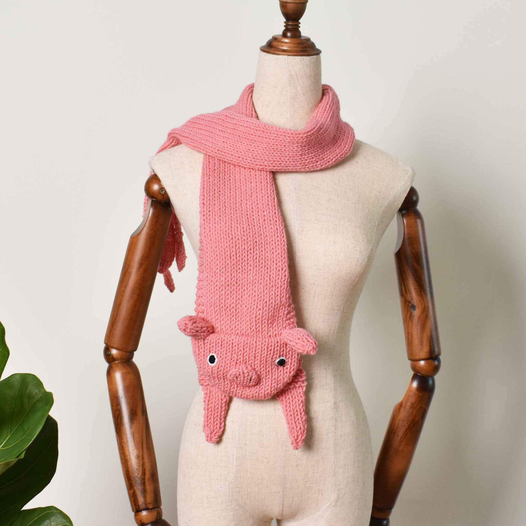 Pig Scarf, Animal Hand Knit Scarf, Accessories Gift, Pig Knitting Scarf - Saigonmade