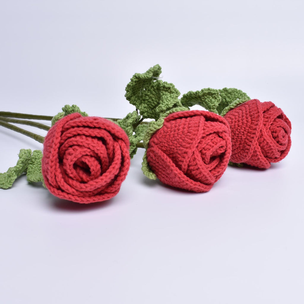 Rose Crochet  For Decor And Flower Arrangemen, Handmade Amigurumi Flower - SaiGonDoll