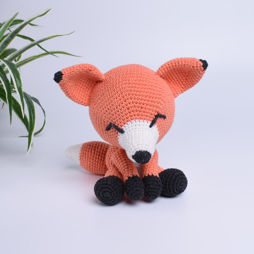 The Sleepy Fox Crochet Animal Handmade Amigurumi Stuffed Toy Doll High Quality - SaiGonDoll