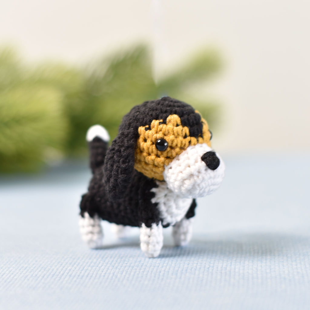 Tiny Beagle Dog Crochet, Miniature Beagle, Miniature Dog, Tiny Dog, Tiny Crochet - SaiGonDoll