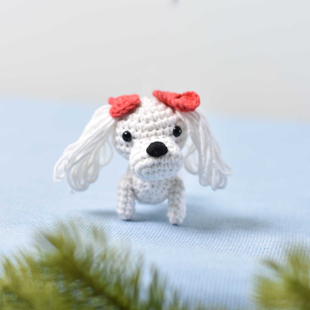 Tiny Maltese Crochet, Miniature Maltese, Miniature Dog, Tiny Dog Tiny Puppy - SaiGonDoll