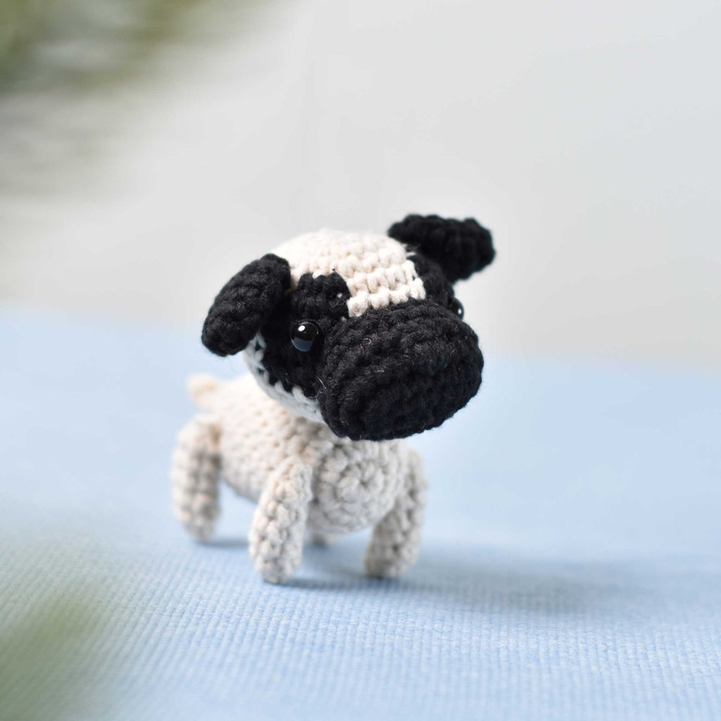 Tiny Pug Dog Crochet, Miniature Pug, Miniature Dog, Tiny Dog, Tiny Crochet Pug - SaiGonDoll
