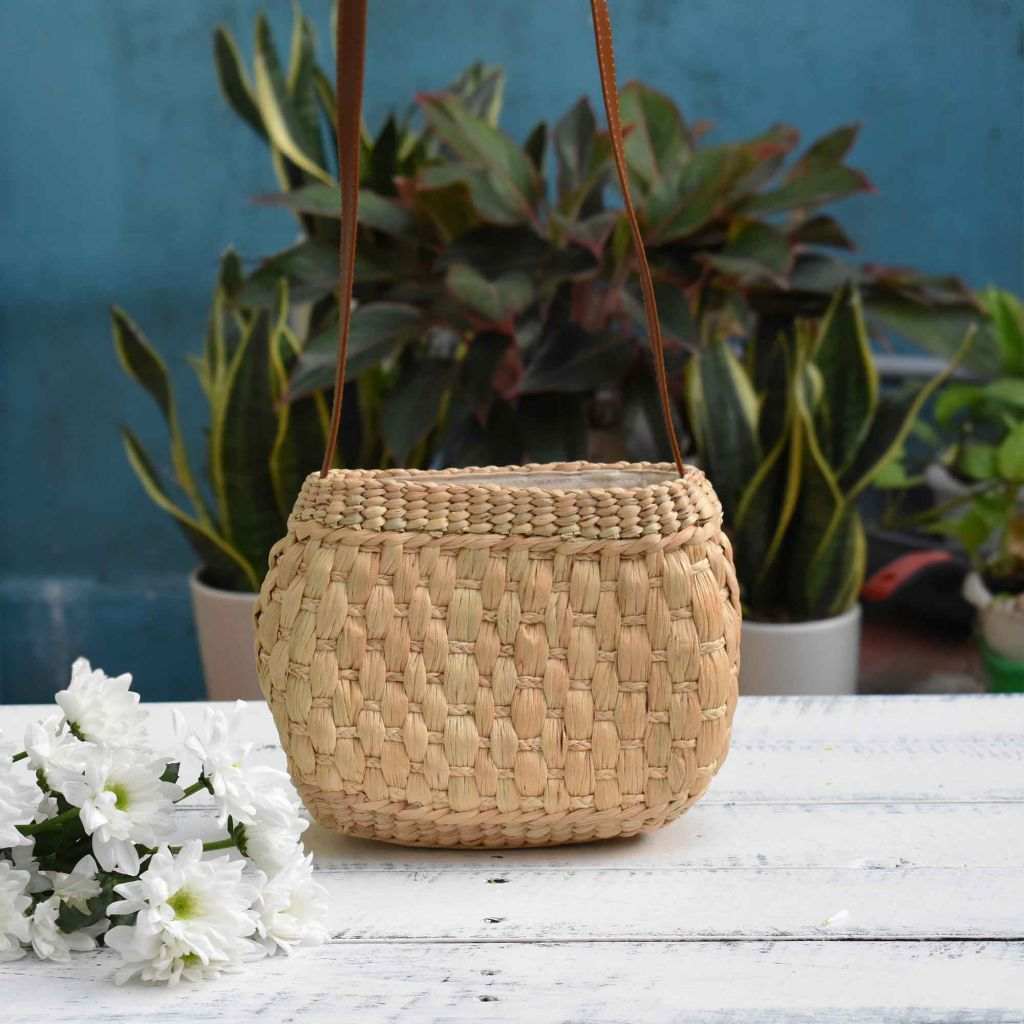 Small Crossbody Bag, Natural Basket Straw Bag, Water Hyacinth Bag, Woven Bag - Saigonmade