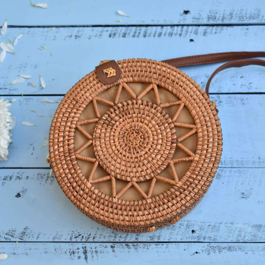 Round Rattan Bag, Straw Bag, Woven Bag, Beach Bag, Crossbody Bag, Shoulder Bag - Saigonmade