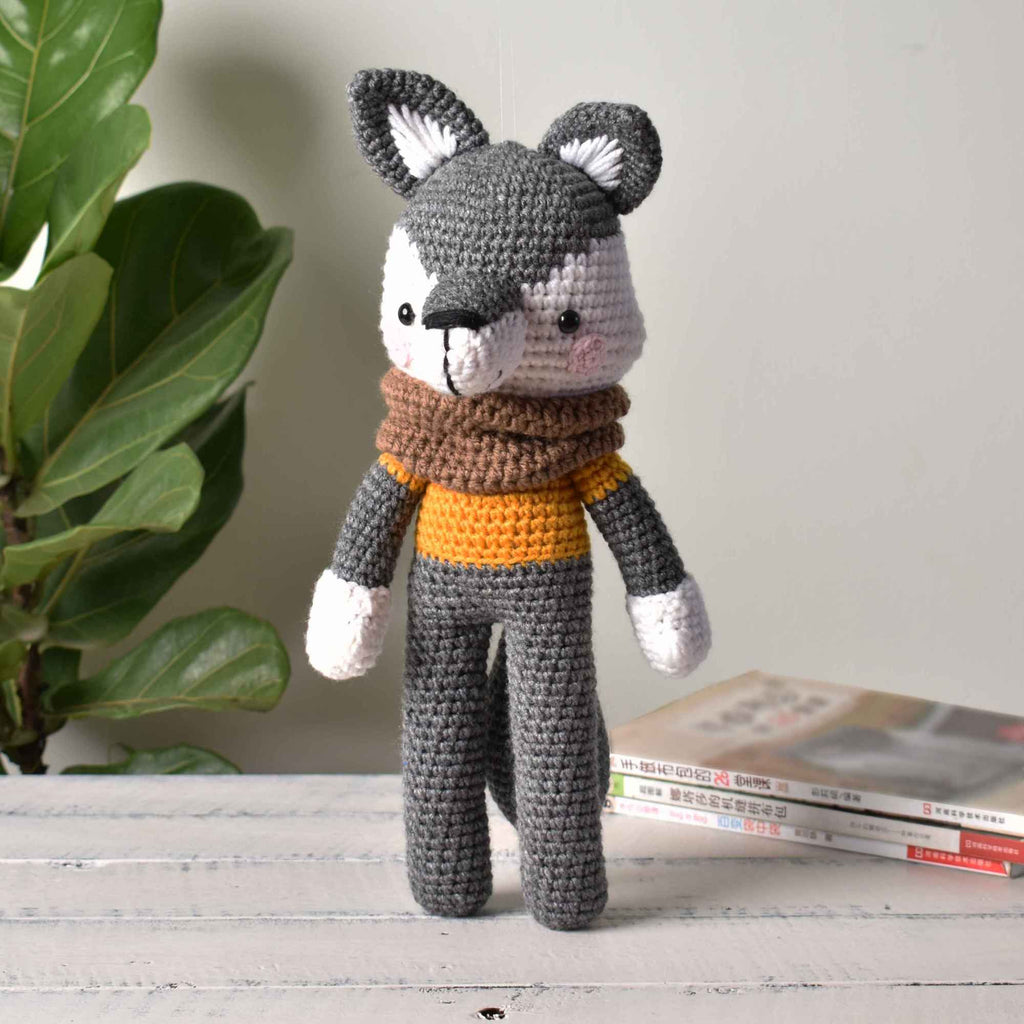 Hipster Wolf With Scarf Stuffed Animal Crochet Toy Baby Handmade Gift - SaiGonDoll