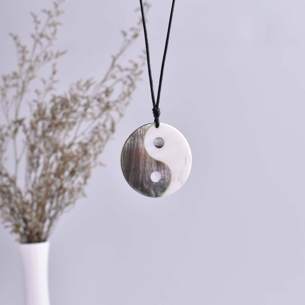 Sea Shell Chinese Yin Yang Charm Pendant Necklace Jewelry 2.5mm 5mm - Saigonmade