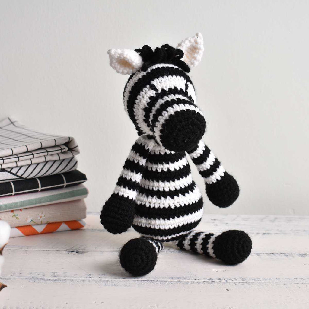 Zebra Crochet Wild Animal, Stuffed Horse, Plush Toy, High Quality Yarn - SaiGonDoll