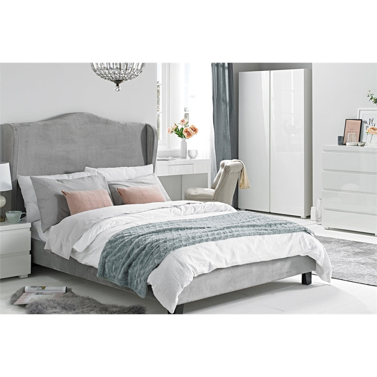 Chateaux Silver Velvet Bed | Quick Click Furniture London