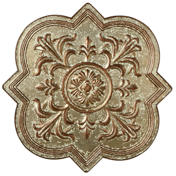 Distressed Galvanized Embossed Medallion Wall Decor