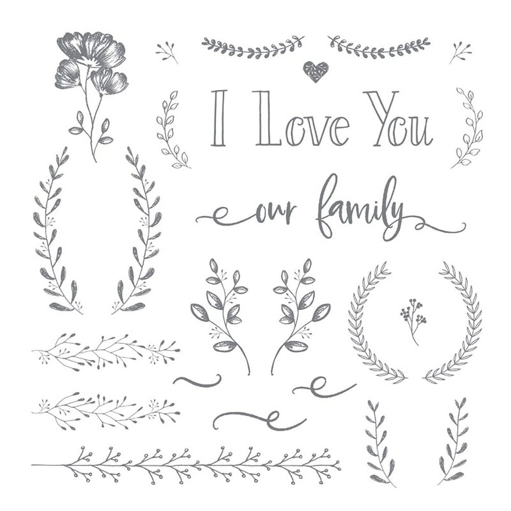 I Love You | Family - Clear Stamp - 12x12