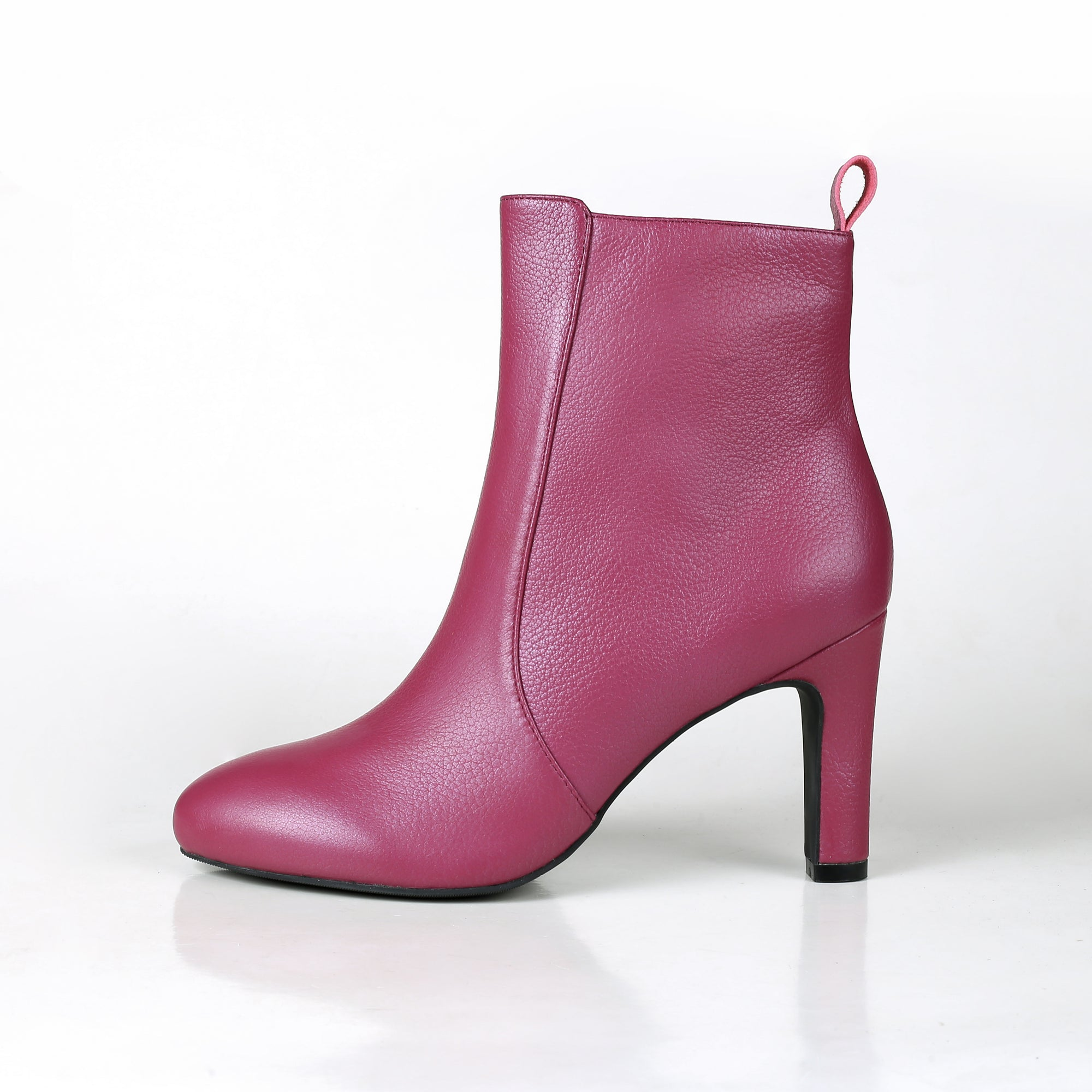 Luna Plum Leather Mid Heel Ankle Boot