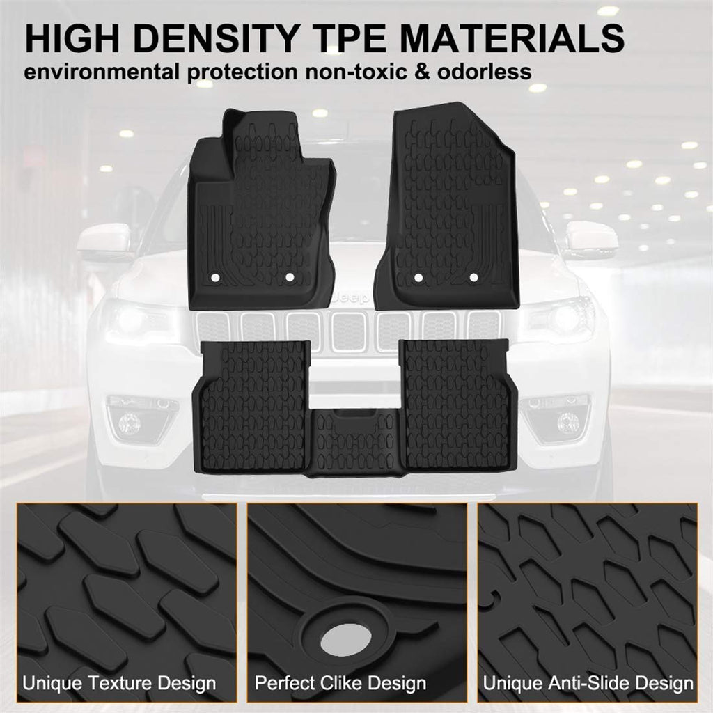 Floor Mats for 2017-2019 Jeep Compass All Weather Protector Liners