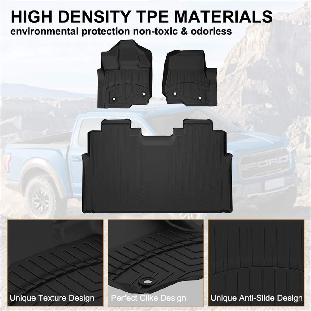 Floor Mats for 2015-2019 Ford F150 SuperCrew Cab All Weather Liners