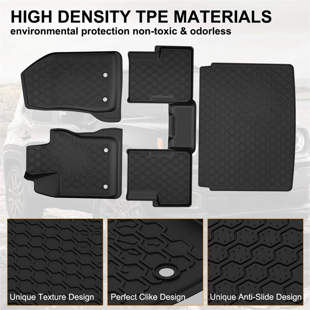 Floor Mats Cargo Liner Set for 2015-2019 Jeep Renegade All Weather Mat
