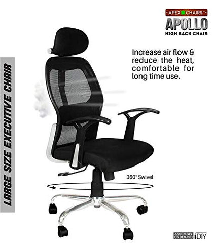 Savya Home® APEX Chairs™ Apollo Chrome Base HIGH Back Engineered Plastic Frame Office Chair (Apollo)