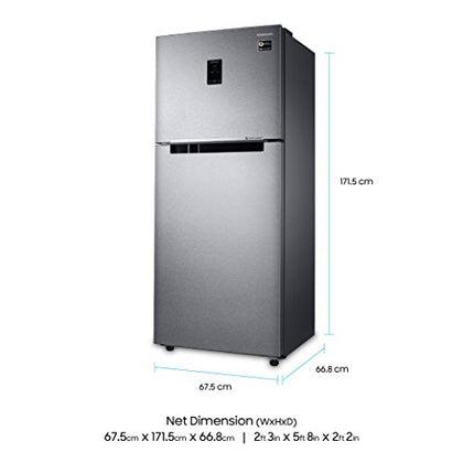 Samsung 394 L 3 Star Frost Free Double Door Refrigerator(RT39M553ESL/TL, Real Stainless, Convertible, Inverter Compressor)