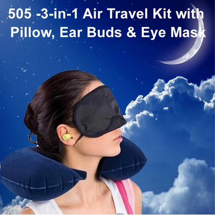 Grabnpay 3 in 1 Air Travel Kit Combo - Pillow, Earbuds & Eye mask
