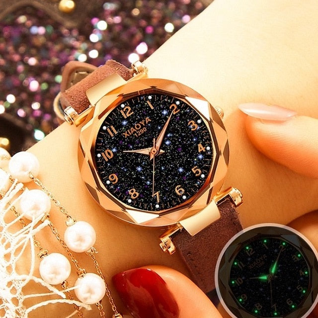 elegant Starry Sky Dial Leather Strap Women watch