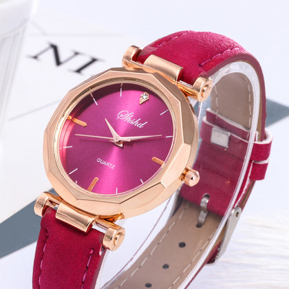 Women Leather Crystal Wristwatch