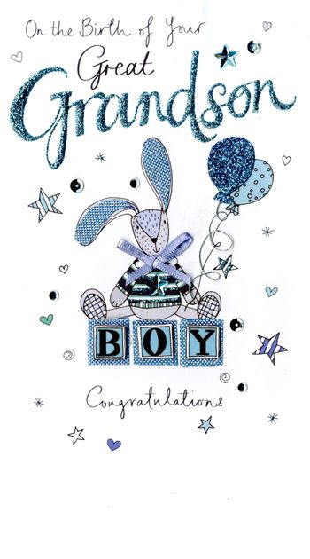 Beautiful Baby Great Grandson Card