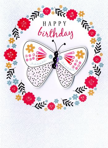 Happy Birthday Butterfly Floral