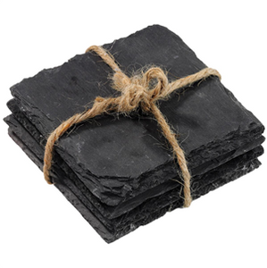 Set/4 heart shaped slate coasters